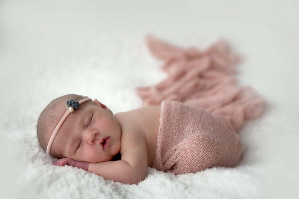Harrodsburg, KY Newborn photography picture of baby wrapped in pink