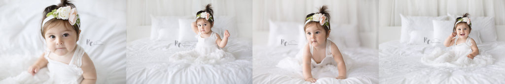 collage of infant in white with white background by Lexington, Ky Baby Photographer, Rhonda Cunningham Photography.