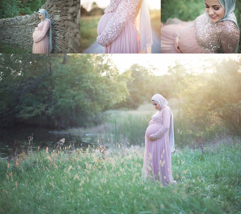 Collage of pregnant mom at sunset captured by Lexington Ky Maternity Photographer