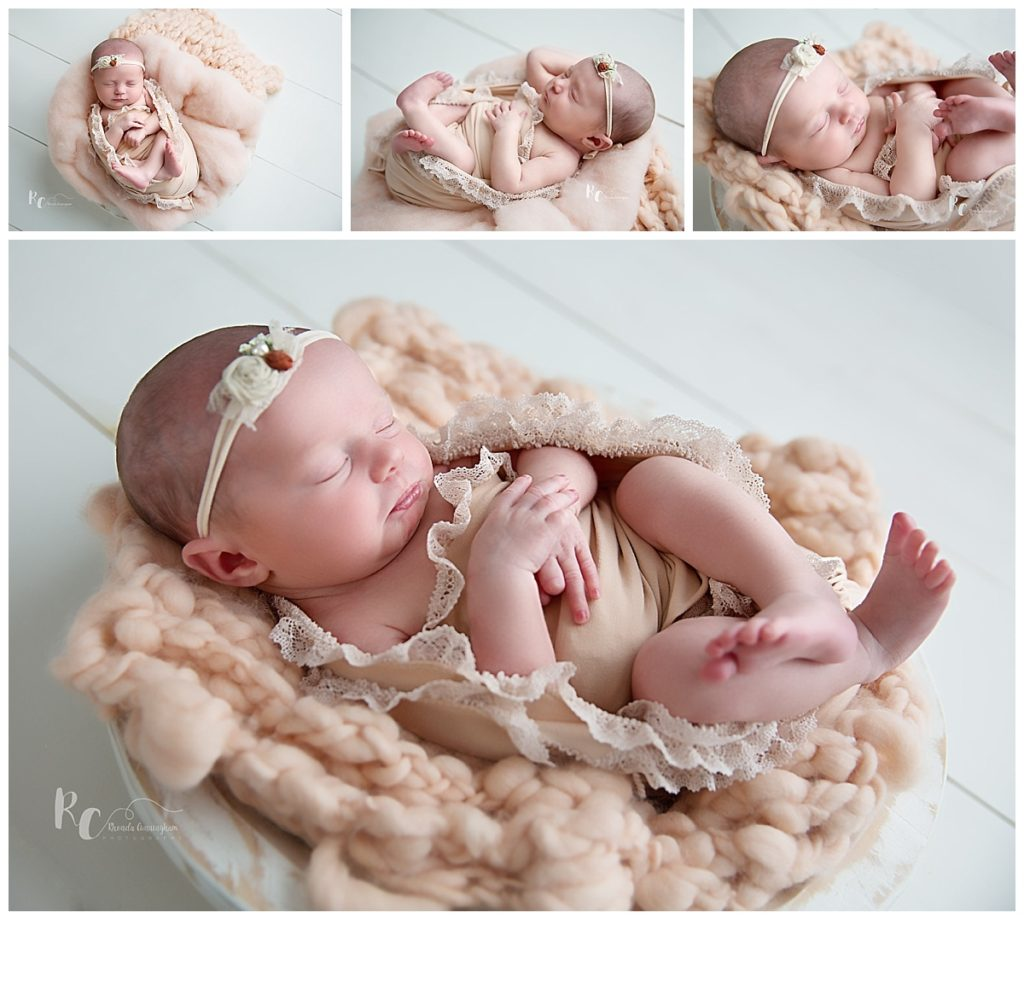collage of baby girl in bowl by nicholasville ky newborn photographer.