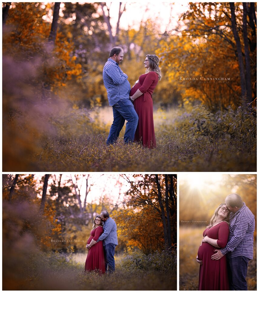Fall maternity pictures in Lexington, KY of mom and dad to be