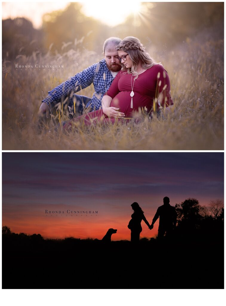 Sunset and silhouette maternity pictures in Lexington, Ky