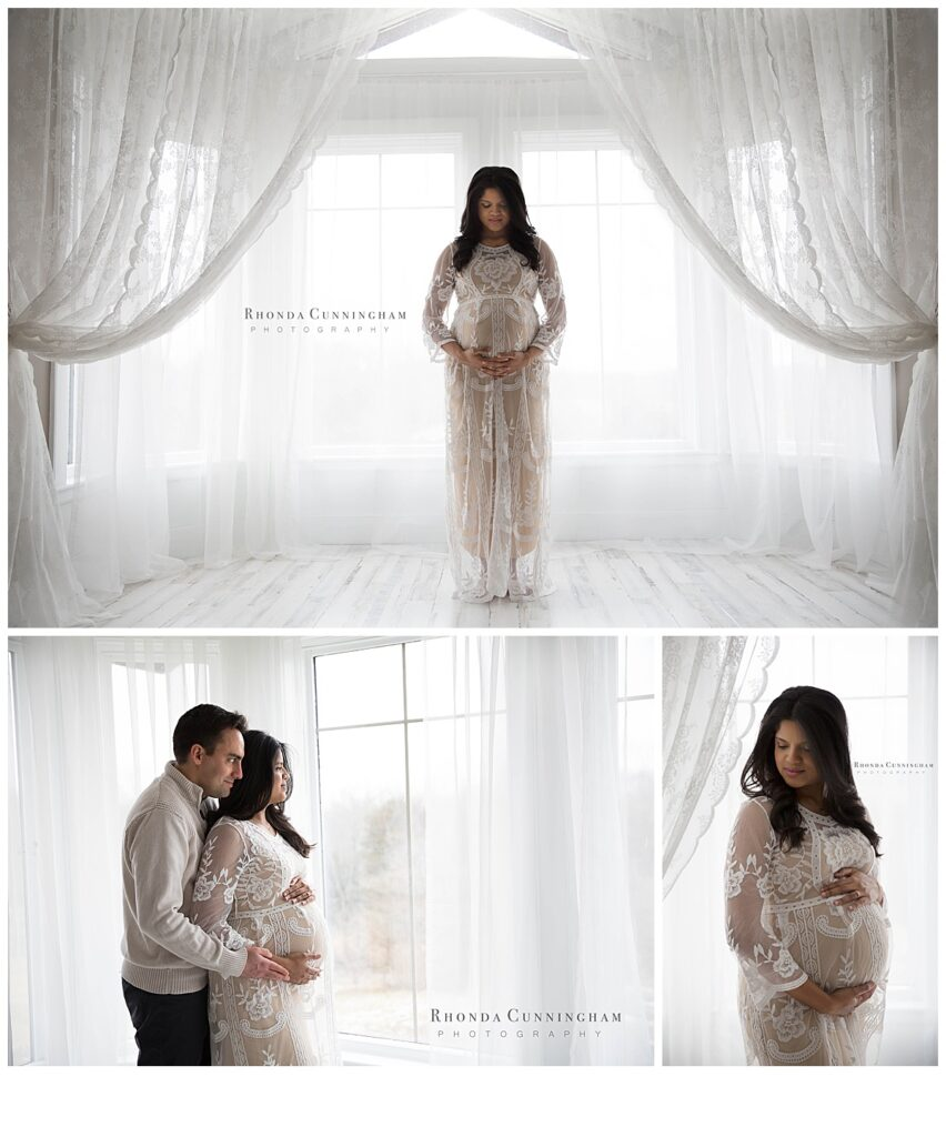 Collage of indoor maternity session by maternity and newborn photographer in Lexington, KY
