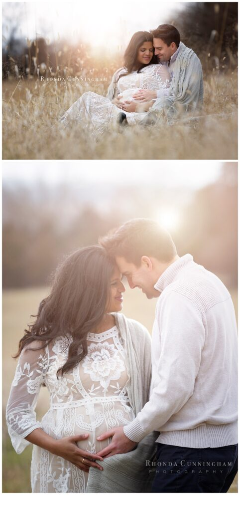 Collage of sunset maternity session by maternity and newborn photographer in Lexington KY