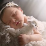 Lexington, KY newborn pics of baby sleeping in sunlight