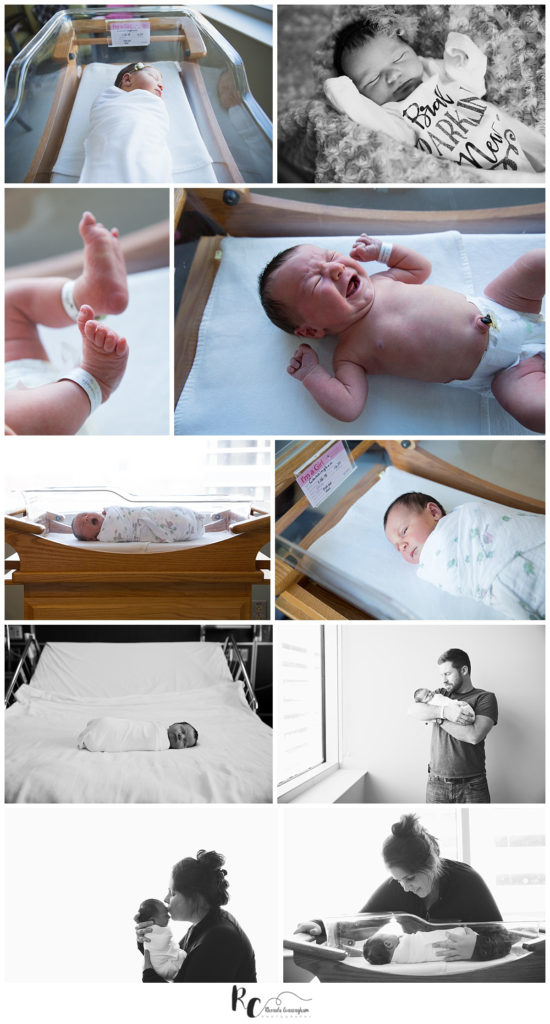 Collage of Just Born Pictures by birth photographer, Rhonda Cunningham