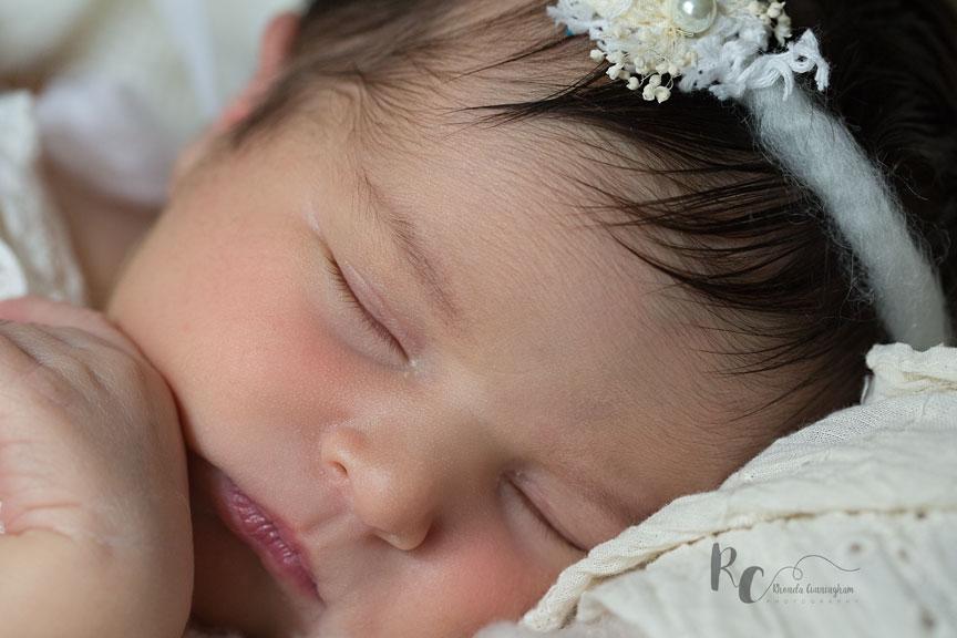 Up close head shot of Lexington, KY newborn pictures