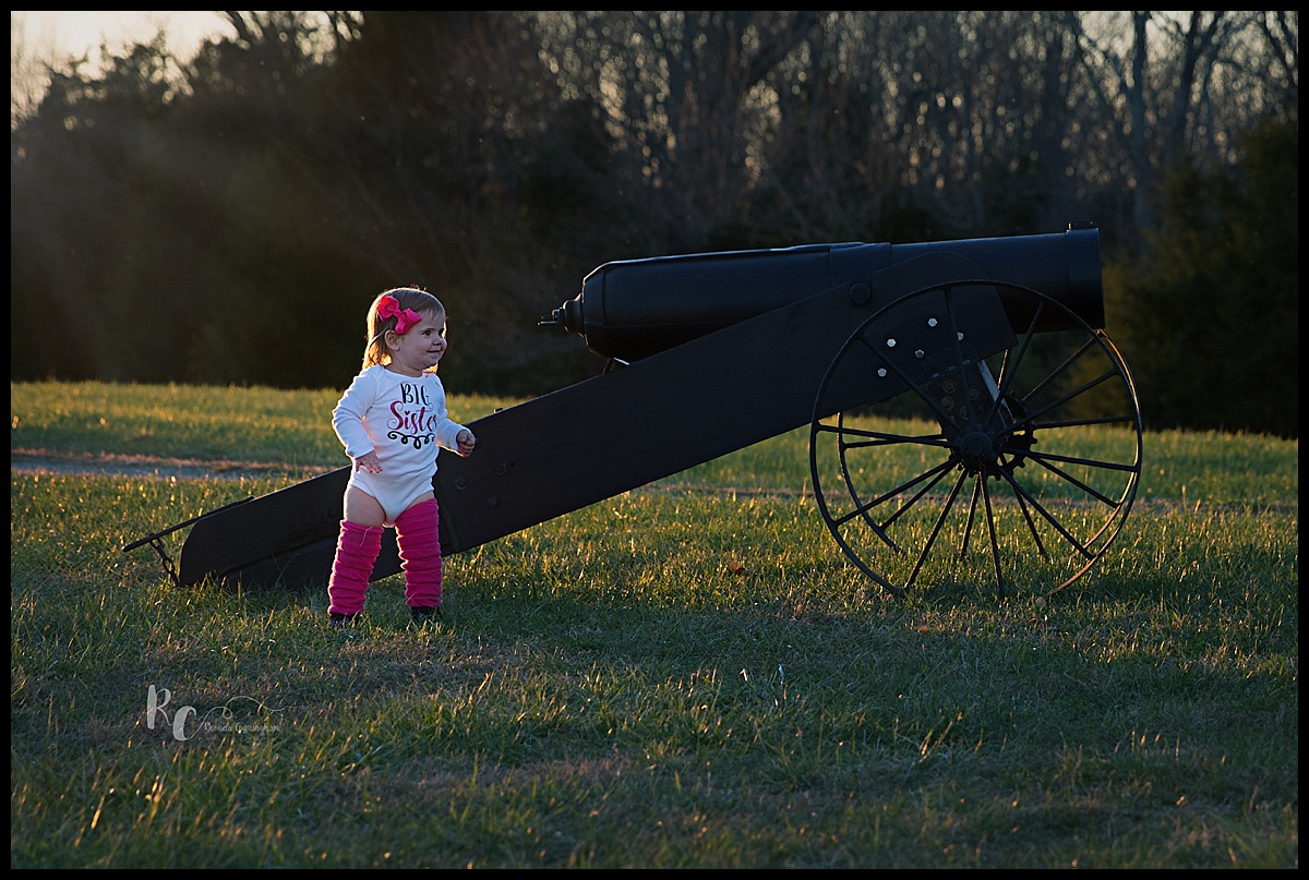 gender reveal using a canon explosion in pink by Lexington Ky newborn photographer Rhonda Cunningahm