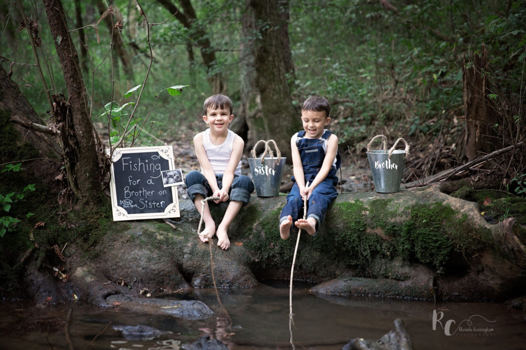 Birth Announcement - Fishing for a brother or a sister. Portrait captured by Nicholasville, Ky Family Photographer, Rhonda Cunningham Photography.